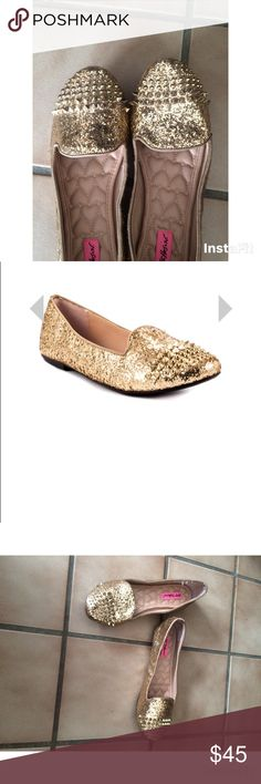 Betsey johnson bambbi gold glitter flats Brand new without tags never been worn gold glitter with spikes heart cushion soles size 8 Betsey Johnson Shoes Flats & Loafers