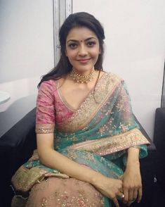 Kajal Aggarwal At Natchathira Vizha In Transparent Green Saree Dress Indian Style, Indian Dresses, Indian Outfits, Indian Attire, Blouse Designs Silk, Saree Blouse Patterns, Indian Beauty Saree, Indian Sarees, Modern Saree