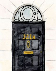 Sherlock Door Art Print sherlock holmes 221b by MenagerieMagique