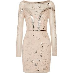 Temperley London Klementina embellished tulle mini dress (44 860 ZAR) ❤ liked on Polyvore featuring dresses, neutrals, pink party dress, long sleeve cocktail party dress, pink long sleeve dress, short dresses and party dresses