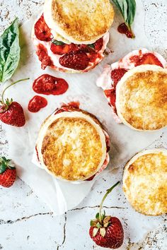 strawberry, lime + basil shortcakes.