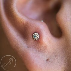This fresh anti-tragus piercing by Lou is rocking an ANATOMETAL Ipsa end in white gold. It's a beautiful choice for this piercing! Christina and Lou are finally back to regular schedules this week! Book now at… Source by anatometal Tragus Piercings, Percing Tragus, Cute Ear Piercings, Tragus Earrings, Body Piercings, Piercing Tattoo, Piercing Types, Ears Piercing, Vintage Tattoos