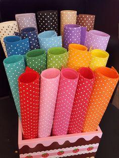 20 30cm x 30cm Polka Dots Felt Sheets 1mm think felt by sewsewnsew