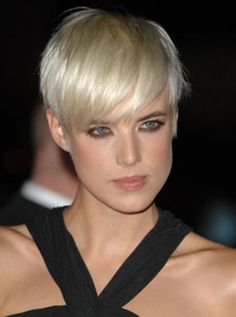Agyness Deyn. long fringe and short cropped hair--- love this.