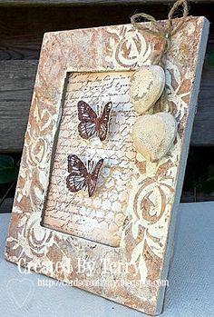 Roses Stencil, Gesso, Modelling Paste and Wendy Vecchi Butterflies, metallic panpastels