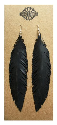 awesome feather earrings made from bike tube!