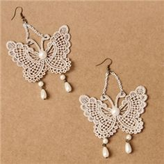 Ericdress Bohemian Lace Butterfly Earrings for Women