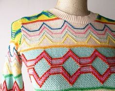 1970s Sweater // Colorful Cotton Zig Zag 1970s Novelty by MinxVTG