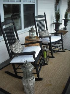 Nova Scotia Coastal Country Charmer -- check out this home tour! 47 Rustic Farmhouse Porch Decorating Ideas to Show Off This Season Front Porch Design, Patio Design, Front Patio Ideas, Fromt Porch Ideas, Fromt Porch Decor, Exterior Design, Porch Designs, Veranda Design, Farmhouse Front Porches