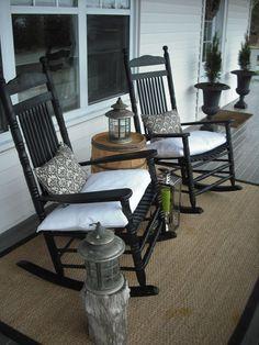 Nova Scotia Coastal Country Charmer -- check out this home tour! 47 Rustic Farmhouse Porch Decorating Ideas to Show Off This Season Front Porch Design, Patio Design, Front Patio Ideas, Fromt Porch Ideas, Fromt Porch Decor, Front Porch Decorations, Exterior Design, Porch Designs, Veranda Design