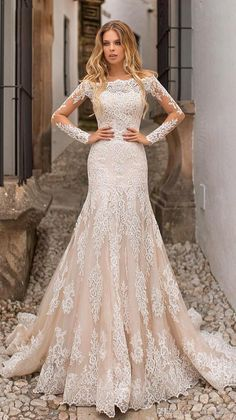 8c2620c51cd 2019 Lace Mermaid Wedding Dresses Bateau Neck Long Sleeves Tulle Lace  Applique Sweep Train Wedding Bridal