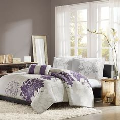 Amazon.com - Home Essence Chloe 4-Piece Comforter Set, King, Purple - Designer Living Comforter Sets