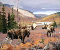 Wildlife Paintings, Wildlife Art, Animal Paintings, Bird Painting Acrylic, Forest Painting, Moose Decor, Moose Art, Moose Antlers, Hunting Art