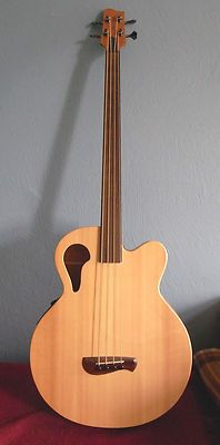 Tacoma Thunder Chief Fretless Bass with Fishman electronics.  What a stunning instrument!