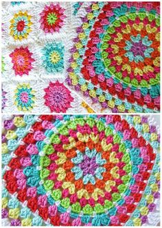 Crochet Granny Square Design Crochet / Granny Squares / Cushion This is the afghan I'm making to use all my extra/leftover yarn! Crochet Blocks, Granny Square Crochet Pattern, Crochet Squares, Crochet Granny, Crochet Motif, Crochet Designs, Crochet Stitches, Knit Crochet, Crochet Patterns