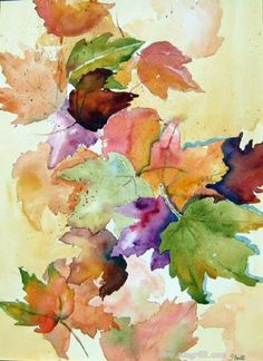 Watercolor leaves More Painting & Drawing, Watercolour Painting, Watercolors, Watercolor Leaves, Watercolor Cards, Autumn Art, Autumn Leaves, Arte Floral, Leaf Art