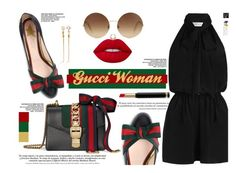 """Gucci Woman"" by yurisnazalieth ❤ liked on Polyvore featuring Gucci, Zimmermann, Lime Crime, Victoria Beckham and Eddie Borgo"