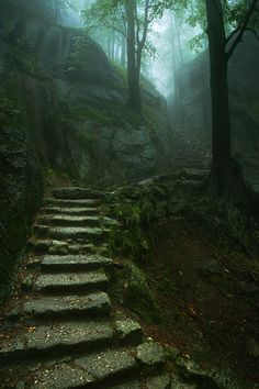 Stairway to the Old Castle, Karkonosze, Poland