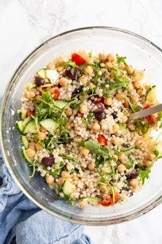 Soup And Salad, Pasta Salad, Real Food Recipes, Healthy Recipes, Weekly Recipes, Diet Recipes, Vegetarian Recipes, Pearl Couscous Salad, Salads