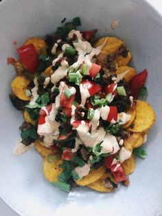 Plantain Chip Nachos - Gimme The Lo Down Avocado Oil Mayo, Cheesy Nachos, Primal Kitchen, Green Bell Peppers, Roma Tomatoes, Ground Meat, Fresh Green, Trader Joes, Bruschetta
