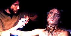 Here is Mr. Baker applying the finishing touches on Mr. Griffin Dunne for American Werewolf in London.