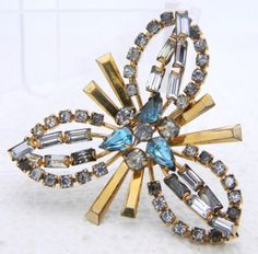 VTG-PHYLLIS-1-20-12K-Gold-Filled-Art-Deco-Style-Blue-Rhinestone-Pendant-Brooch