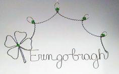Erin go bragh Silvertone wire hanging design, St Patrick's Day Decor