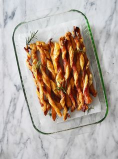 Puff Pastry Bacon Straws with a Sweet Rosemary Cayenne Glaze
