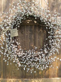 White Berry Wreath as another natural option for wreathes verses the solid white with glitter
