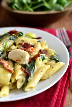 Chicken, Bacon, and Artichoke Pasta with Creamy Garlic Sauce is the pasta version of one of my favorite pizzas. Garlicky and delicious! | iowagirleats.com