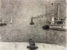 Georges Seurat: 1886 The Port of Honfleur - Drawing -
