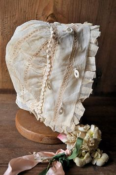 Antique french baby hat bonnet silk tulle by Feemainvintagestyle