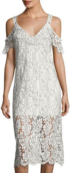 Keepsake Heartbreaker Lace Cold-Shoulder Dress, Ivory