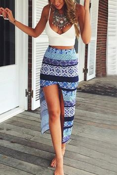 White Crop Top With Print Irregular Skirt Two-piece Suit
