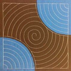 The Free Motion Quilting Project: 21. Spirals and Echoes in a Drunkards Path Block