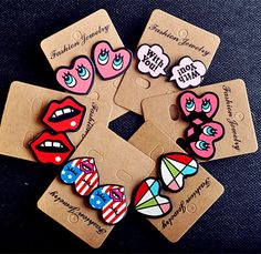 Moda Sexy labios rojos carta lindo del corazón del perno prisionero para mujeres regalos Night Club Punk accesorios de la joyería