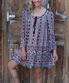Look at this #zulilyfind! Black Geo Bell-Sleeve Peasant Dress by Angie Apparel #zulilyfinds