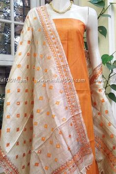 Designer Silk Hand Embroidered Phulkari Work Dupatta & kurta fabric
