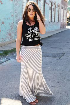 Striped Beach Maxi Skirt {Taupe} - The Rage
