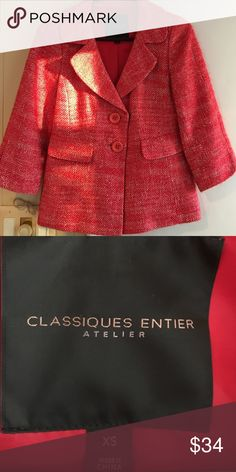Classiques Entier cherry red 60's stylized blazer Great condition. Worn just a handful of times. Amazing youthful color! Purchased at Nordstrom about 7 years ago. Nordstrom Jackets & Coats Blazers