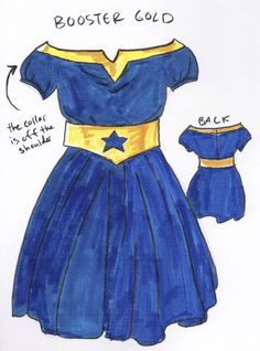 More DC character inspired dresses. From the comics, though NGL, I'd watch the hell out of a Booster Gold movie so long as they include the Blue Beetle. Gold Movie, Superhero Villains, Blue Beetle, Fandom Fashion, Dc Characters, Gold Dress, Dream Dress, Formal Wear, Geek