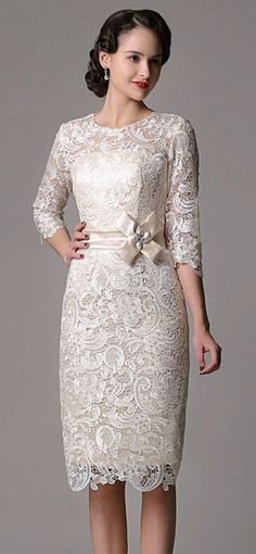 Elegant Sheath High Neck Knee-length Lace Wedding Dress With Lace Sleeve for Older Bride