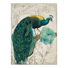 Les Paons II Vintage Peacocks Art Nouveau Posters by colorbakery