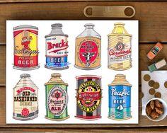 Beer illustration. Vintage beer cans. Beer poster. by LouPaper