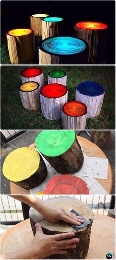 DIY Glow in the Dark Log Stools Instructions - Raw Wood Logs and Stumps DIY Ideas Projects