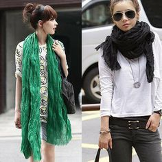2014 New Winter American & Europe hot Sale women fashion solid cotton voile warm soft scarf shawl cape Lady Multi-color scarves Multi Coloured Scarves, Fall Scarves, Long Scarf, Aliexpress, Scarf Styles, Womens Scarves, Dame, Ideias Fashion, Winter Fashion