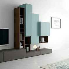 dallagnese contemporary minimalist design TV unit Slim. Wall cabinets with flap fronts are matched with metal open cabinets, creating an alternation of open and closed compartments that ensures the sophisticated elegance of this furnishing combina 1