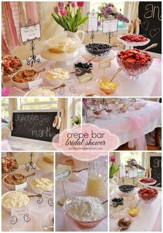 New bridal shower brunch buffet crepe bar Ideas French Bridal Showers, Paris Bridal Shower, Bridal Shower Party, Bridal Shower Snacks, Bridal Luncheon, Elegant Bridal Shower, Crepe Bar, Brunch Bar, Cucina