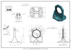 3D CAD EXERCISES 346 - STUDYCADCAM Mechanical Design, Mechanical Engineering, Autocad, Isometric Drawing Exercises, 3d Drawings, Drawing Practice, Technical Drawing, Planer, Techno