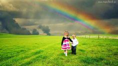 Dzieci, Tęcza, Trawa